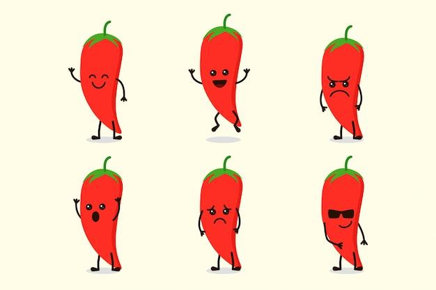 Ładny charakter papryka chili na białym tle w wielu wyrażeniach
