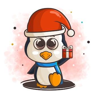 Ładny charakter pingwina z ilustracją prezentu bożego narodzenia