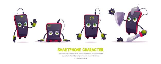 Ładny charakter smartfona w różnych pozach