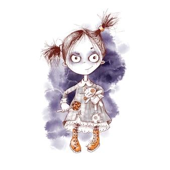 Ładny charakter zombie duch dziewczyna akwarela ilustracja na halloween