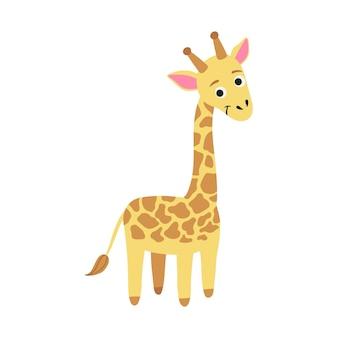 Ładny charakter żyrafy. prosta ilustracja kreskówka wektor stylu afrykańskiego zwierzęcia