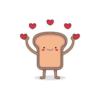 Ładny chleb kreskówka szerzenie miłości