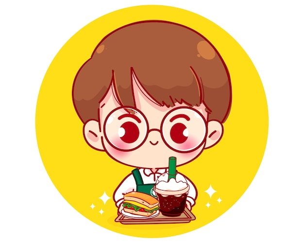 Ładny chłopak barista w fartuch trzymając postać z kreskówki kanapkę i kawę
