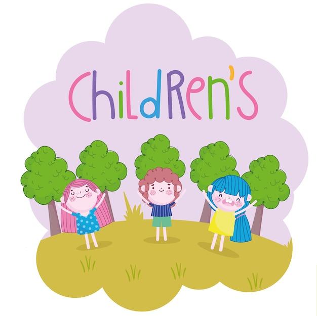 Ładny chłopak dziewczyny zabawna kreskówka w parku, ilustracja dla dzieci
