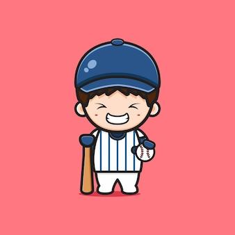 Ładny chłopak gra ikona ilustracja kreskówka baseball. zaprojektuj na białym tle płaski styl kreskówki