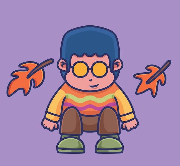 Ładny chłopak gra kreskówka liść sezon jesień koncepcja ilustracja na białym tle płaski styl