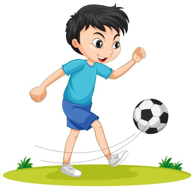Ładny chłopak gra postać z kreskówki piłki nożnej na białym tle