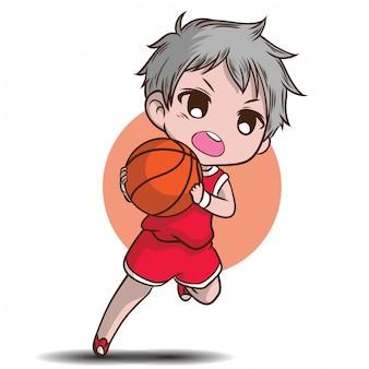 Ładny chłopak grać w koszykówkę postać z kreskówki.