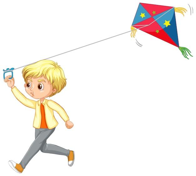 Ładny chłopak grający postać z kreskówki latawca na białym tle