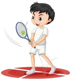 Ładny chłopak grający w tenisa postać z kreskówki na białym tle