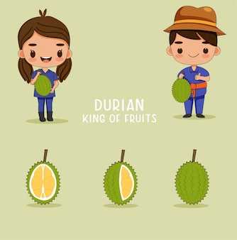 Ładny chłopak i dziewczynka ogrodnik z owocami durian