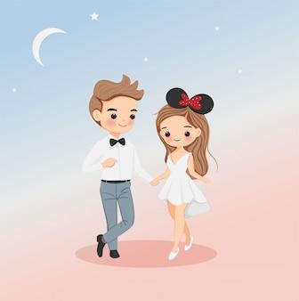 Ładny chłopak i dziewczyny para postać z kreskówki w białej sukni na projekt karty ślubu