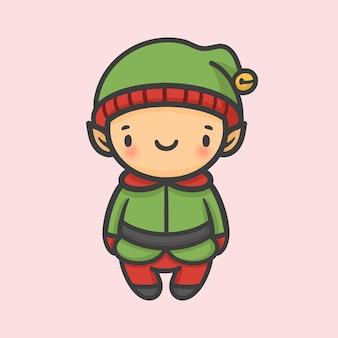 Ładny chłopak kostium elf boże narodzenie ręcznie rysowane kreskówki stylu