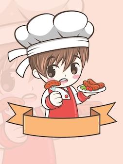 Ładny chłopak kucharz grill trzyma kiełbasę z grilla - postać z kreskówki i ilustracja logo