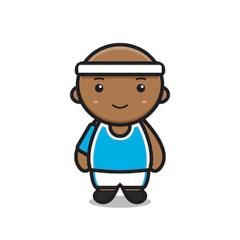 Ładny chłopak nosić strój do koszykówki. projekt na białym tle.