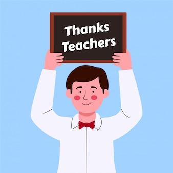 Ładny chłopak podniósł znak z podziękowaniami nauczyciela