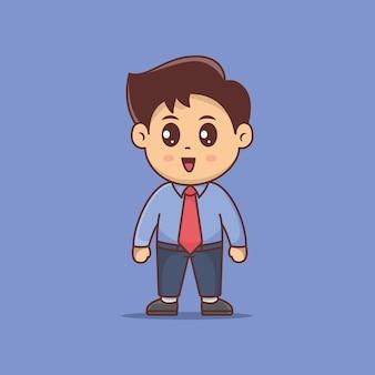 Ładny chłopak pracownik biura, biznesmen kreskówka wektor