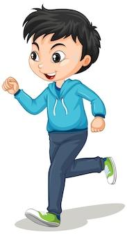 Ładny chłopak robi bieganie postać z kreskówki na białym tle