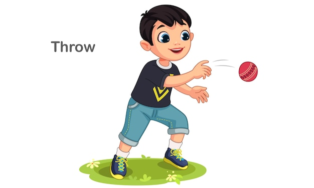 Ładny chłopak rzuca piłkę ilustracja