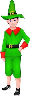 Ładny chłopak sobie kostium elfa