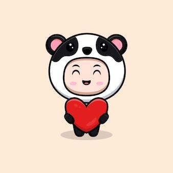 Ładny chłopak sobie kostium pandy trzymając serce na prezent. płaska ilustracja postaci kostiumu zwierzęcego