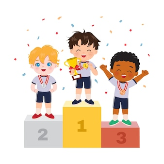 Ładny chłopak stojący na podium jako zwycięzca zawodów sportowych. świętowanie mistrzostw. płaski projekt kreskówki