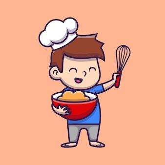 Ładny chłopak szef kuchni gotowanie ikona ilustracja kreskówka