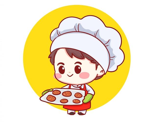 Ładny chłopak szef kuchni piekarni trzymając tacę ze świeżo upieczonymi ciasteczkami. dziecko w czapce i mundurze szefa kuchni. postać z kreskówki kreskówki sztuki ilustracja.