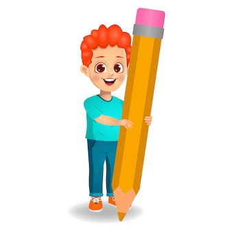 Ładny chłopak trzymając ołówek