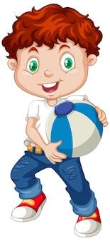 Ładny chłopak trzymając piłkę koloru