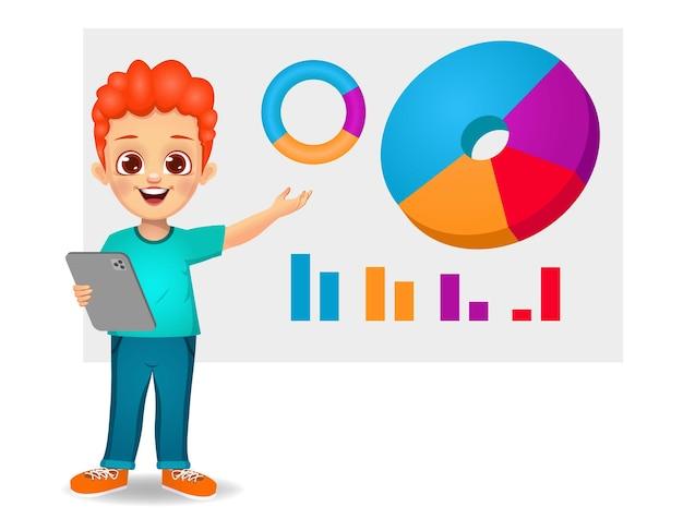 Ładny chłopak trzymając tablet i pokazując wykres kołowy
