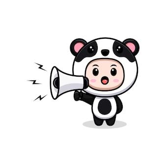 Ładny chłopak ubrany panda kostium sepaking na megafon. płaska ilustracja postaci kostiumu zwierzęcego