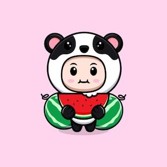 Ładny chłopak ubrany w strój pandy jedzenie owoców arbuza. płaska ilustracja postaci kostiumu zwierzęcego
