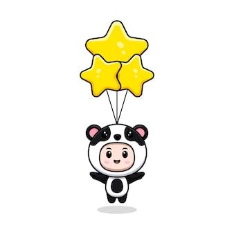 Ładny chłopak ubrany w strój pandy pływający z gwiazdą. płaska ilustracja postaci kostiumu zwierzęcego