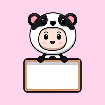 Ładny chłopak ubrany w strój pandy, trzymając pustą tablicę tekstową. płaska ilustracja postaci kostiumu zwierzęcego