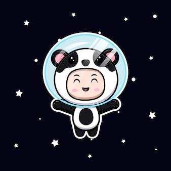 Ładny chłopak ubrany w strój pandy unoszący się w przestrzeni. płaska ilustracja postaci kostiumu zwierzęcego