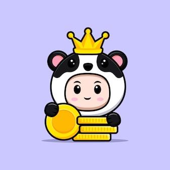 Ładny chłopak ubrany w strój pandy z koroną i złotą monetą. płaska ilustracja postaci kostiumu zwierzęcego