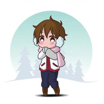 Ładny chłopak w zimowe ubrania