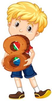 Ładny chłopak z blond włosami, trzymając numer matematyki osiem
