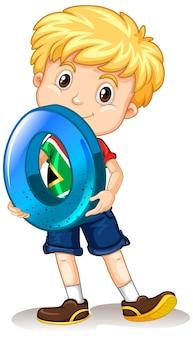 Ładny chłopak z blond włosami, trzymając numer matematyki zero