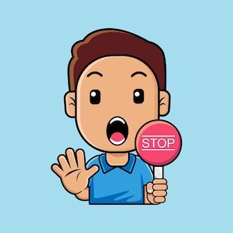 Ładny chłopak z dłoni i trzymając kreskówka deska znak stop