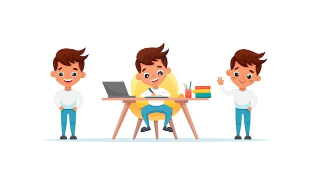 Ładny chłopak z różnymi gestami i pozami na białym tle. chłopiec uczy się przy stole w domu. ilustracja kreskówka