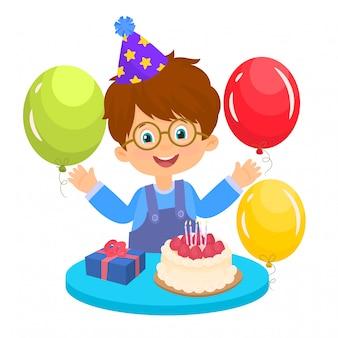 Ładny chłopak zadowolony, kartkę z życzeniami na urodziny