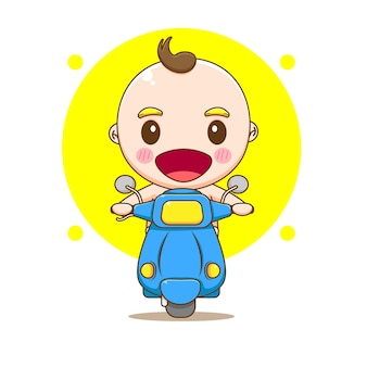 Ładny chłopczyk jazda motocyklem ilustracja kreskówka
