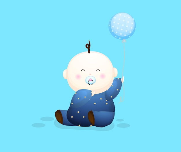 Ładny chłopczyk trzyma postać z kreskówki balon. ilustracja koncepcji dziecka premium wektorów