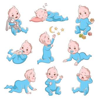 Ładny chłopczyk w pieluchy z różnymi pozami i emocjami szczęśliwymi i smutnymi. dziecko bawiące się i płaczące, pełzające kreskówka wektor malucha
