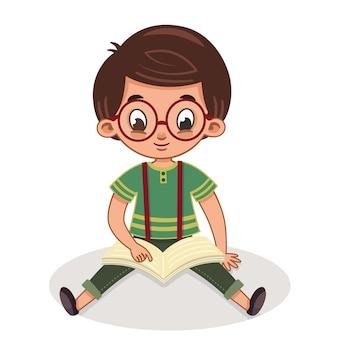 Ładny chłopiec czyta książkę ilustracja wektorowa