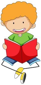 Ładny chłopiec czytanie książki doodle postać z kreskówki