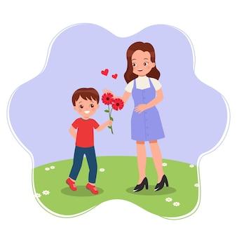 Ładny chłopiec daje kwiat matce jako prezent koncepcja szczęśliwy dzień matki mieszkanie na białym tle