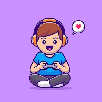 Ładny chłopiec gra ilustracja kreskówka wektor gry. koncepcja technologii ludzie na białym tle. płaski styl kreskówki